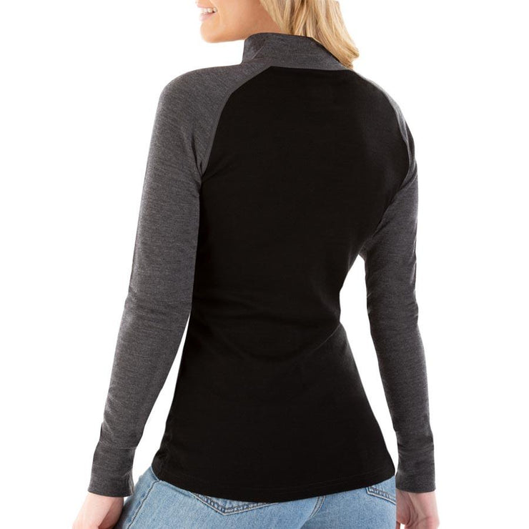 back of a woman wearing women's charcoal gray and black merino wool 250 base layer half zip sweater