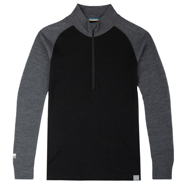 women's charcoal gray and black merino wool 250 base layer half zip top laying flat