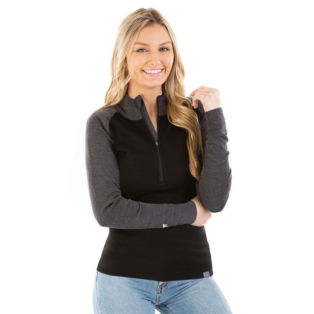woman wearing women's charcoal gray and black merino wool 250 base layer half zip top