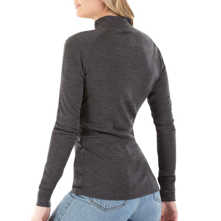 back of a woman wearing women's charcoal gray merino wool 250 base layer half zip top