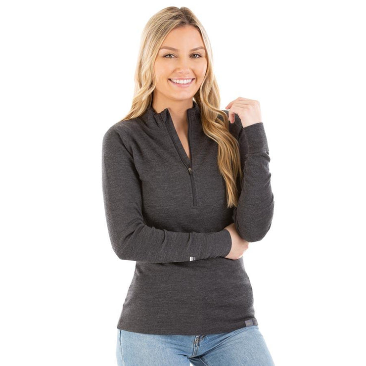 woman wearing women's charcoal gray merino wool 250 base layer half zip sweater top