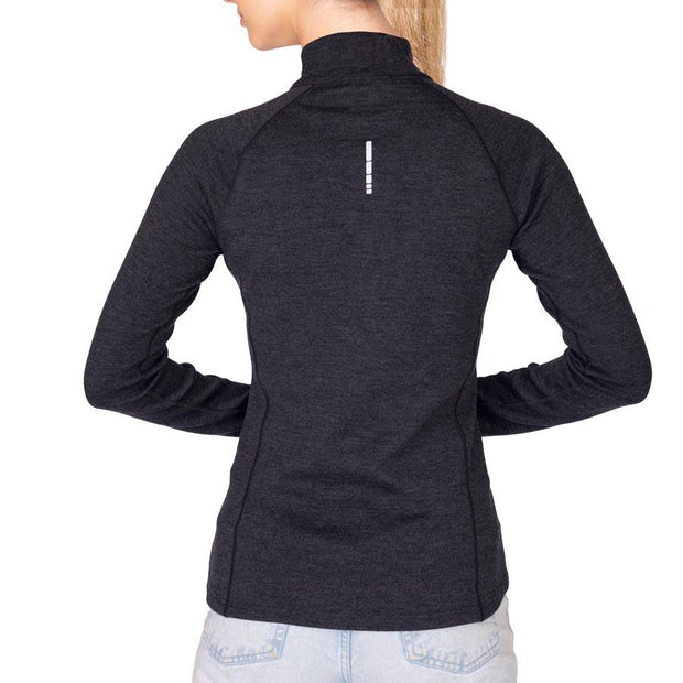 back of a woman wearing a women's charcoal gray merino wool 400 base layer half zip sweater