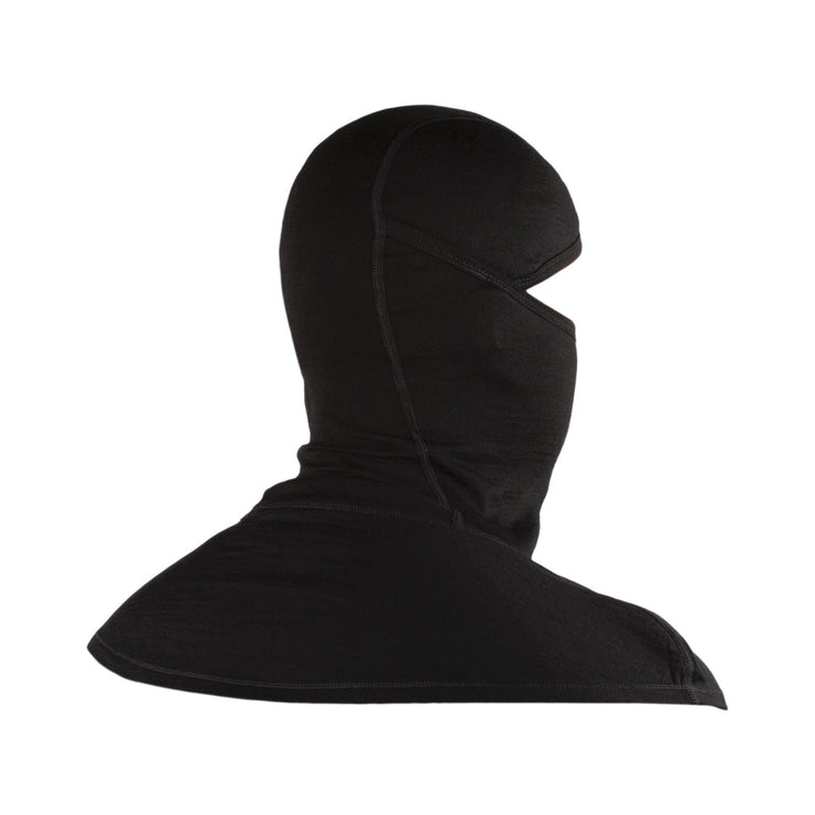 back of a black merino wool 200 youth balaclava face mask