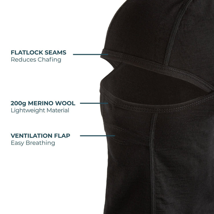 black merino wool 200 balaclava face mask features