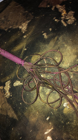 Mixed media art piece featuring pink leather whip
