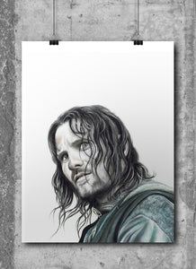 Aragorn | Limited Edition | Hand Drawing by Wil Shrike