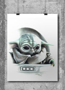 Baby Yoda/Limited Edition/Hand Drawing by Wil Shrike
