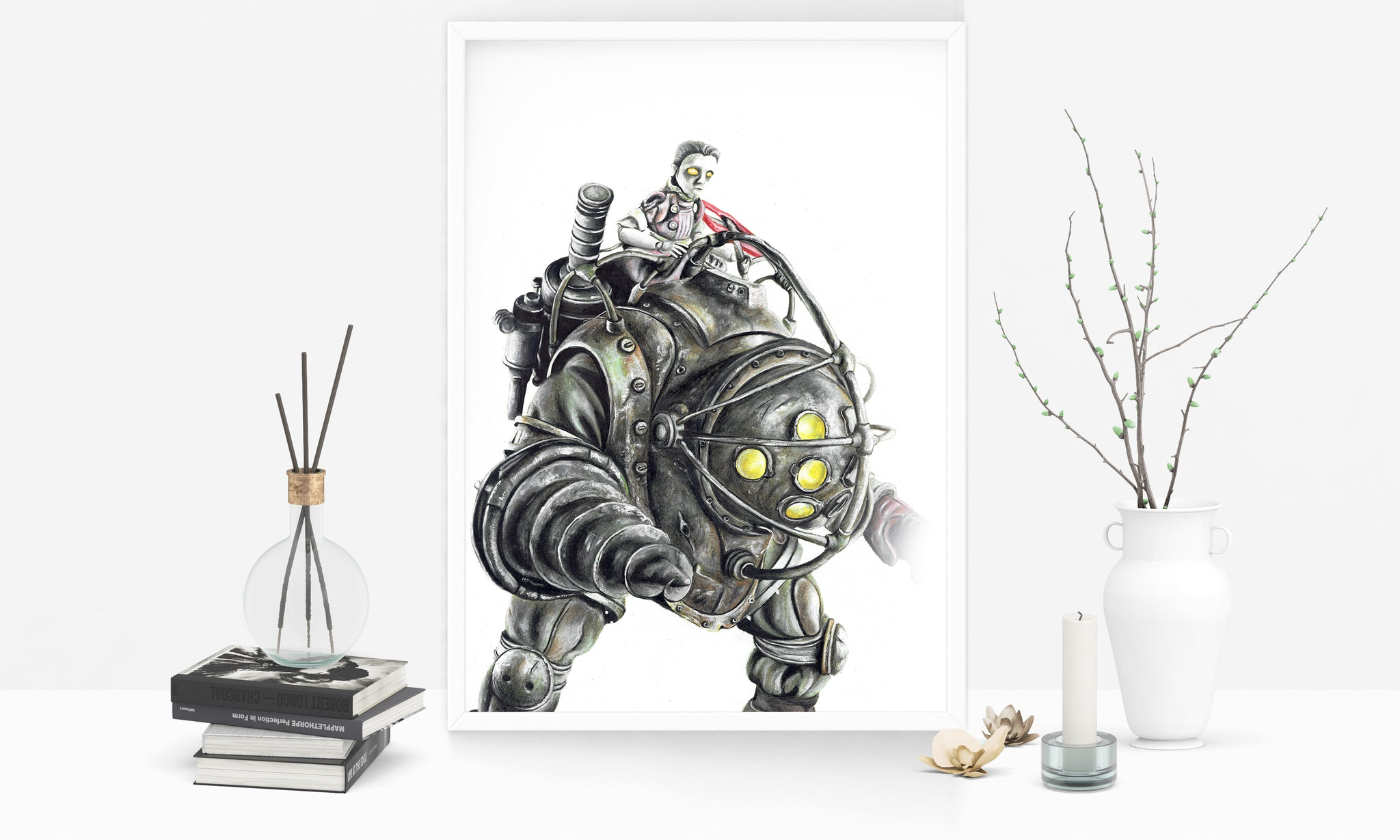 Big Daddy Bioshock Limited Edition Hand Drawing By Wil