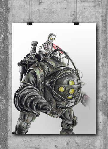 Big Daddy/BioShock/Limited Edition/Hand Drawing by Wil Shrike
