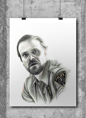 Chief Hopper/Limited Edition/Hand Drawing by Wil Shrike