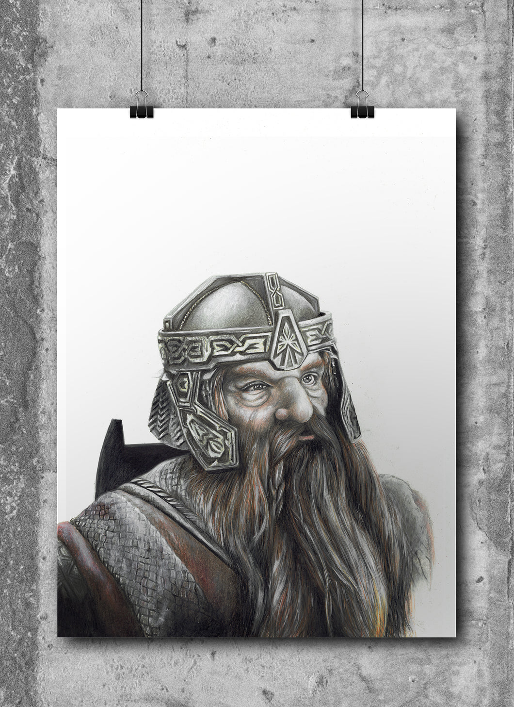 Gimli | Limited Edition | Hand Drawing by Wil Shrike