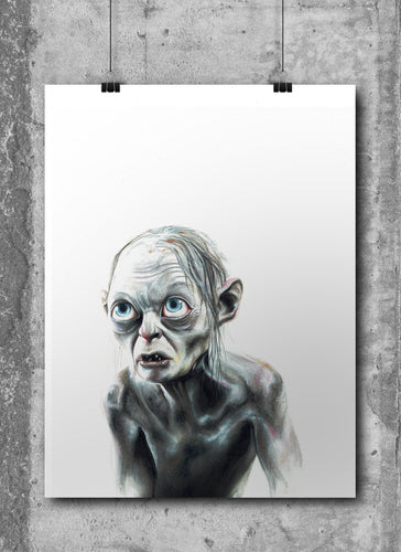 Gollum/Smeagal/Limited Edition/Hand Drawing by Wil Shrike
