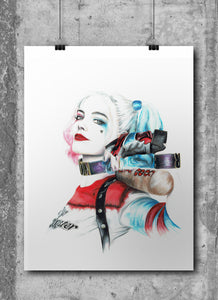 Harley Quinn/Margot Robbie/Limited Edition/Hand Drawing by Wil Shrike