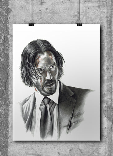 John Wick/Limited Edition/Hand Drawing by Wil Shrike