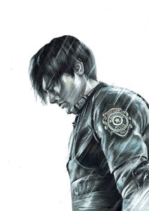 Leon/Resident Evil 2 | Limited Edition | Hand Drawing by Wil Shrike