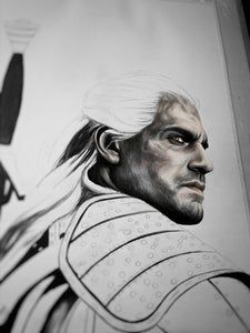 Geralt of Rivia/The Witcher/Limited Edition/Hand Drawing by Wil Shrike
