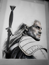 Load image into Gallery viewer, Geralt of Rivia/The Witcher/Limited Edition/Hand Drawing by Wil Shrike