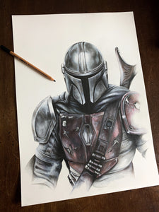 The Mandolorian/Limited Edition/Hand Drawing by Wil Shrike