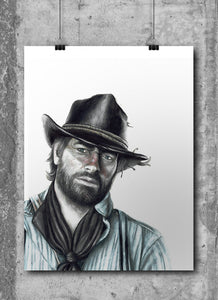 Arthur Morgan/Red Dead Redemption 2/Limited Edition/Hand Drawing by Wil Shrike
