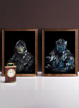 Load image into Gallery viewer, Scorpion vs SubZero/Print Set/Limited Edition/Hand Drawing by Wil Shrike