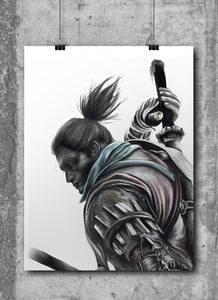 Wolf/Sekiro Shadow Dies Twice/Limited Edition/Hand Drawing by Wil Shrike