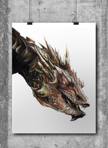 Smaug | Tolkien | Limited Edition | Hand Drawing by Wil Shrike