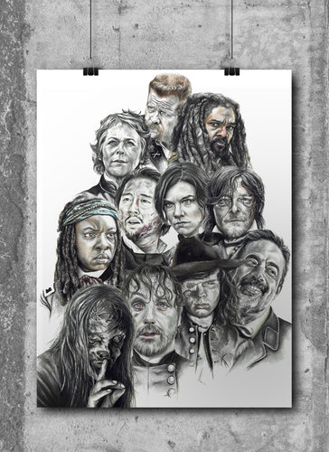 The Walking Dead Montage/Limited Edition/Hand Drawing by Wil Shrike