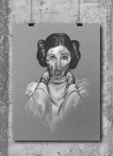 Princess Leia/Limited Edition/Hand Drawing by Wil Shrike