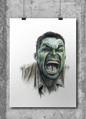 Hulk/Limited Edition/Hand Drawing by Wil Shrike