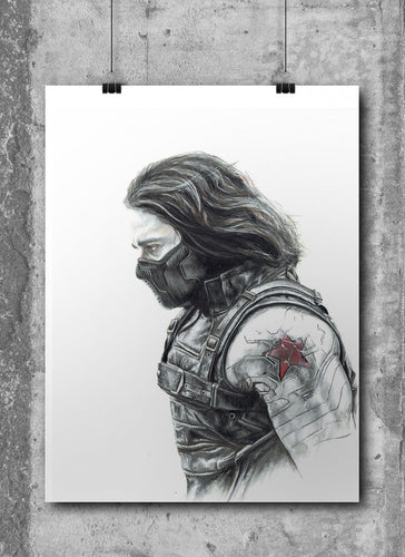Winter Soldier | Limited Edition | Hand Drawing by Wil Shrike