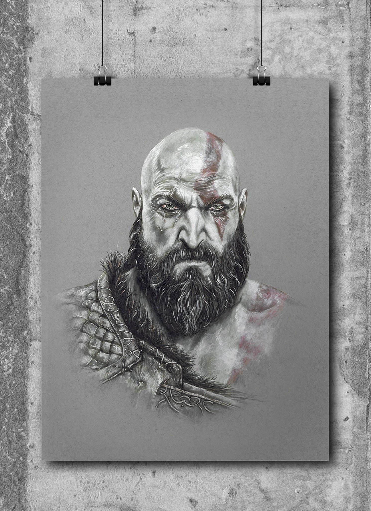 Kratos God Of War Limited Edition Hand Drawing By Wil Shrike