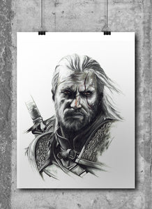 Geralt of Rivia/The Witcher | Limited Edition | Hand Drawing by Wil Shrike