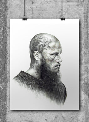 Ragner Lothbrok/Vikings/Limited Edition/Hand Drawing by Wil Shrike