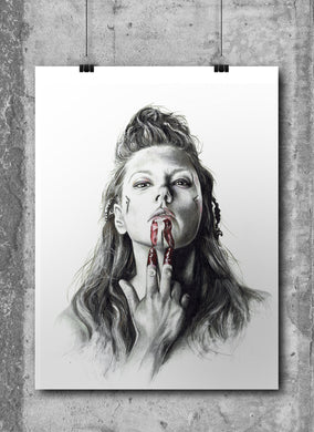 Lagertha | Vikings | Limited Edition | Hand Drawing by Wil Shrike