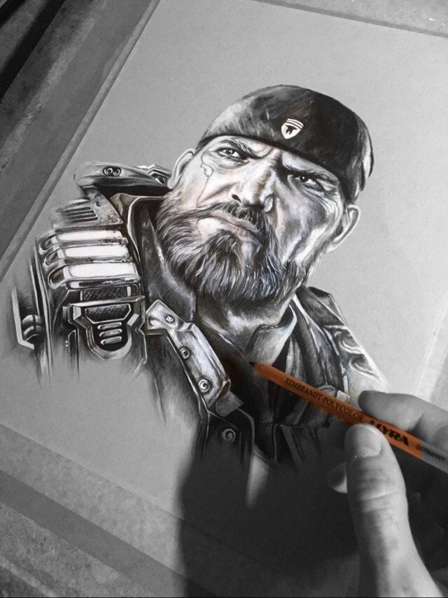 Marcus Fenix Gears Of War Original Wil Shrike Art