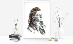 Aloy/Horizon Zero Dawn/Limited Edition/Hand Drawing by Wil Shrike