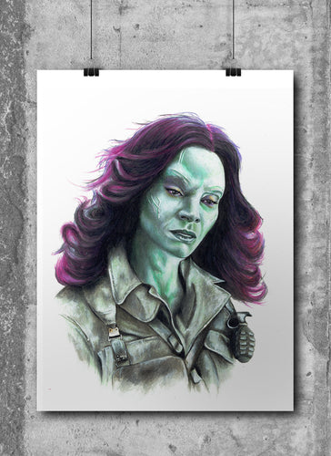 Gamora/Limited Edition/Hand Drawing by Wil Shrike