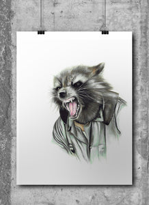 Rocket Racoon/Limited Edition/Hand Drawing by Wil Shrike