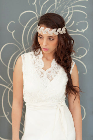 Beaded Leaf Headband - Style#1214