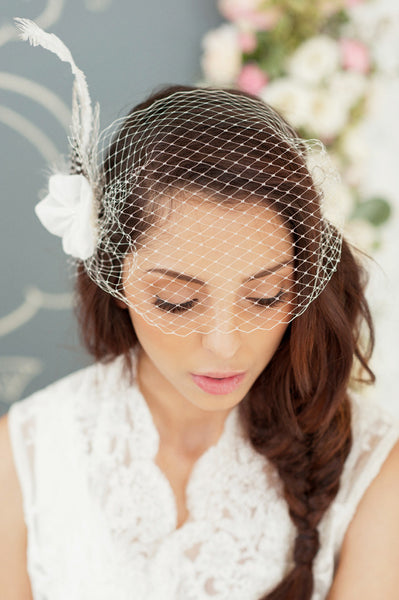 Birdcage and Feather Fascinator Style#1209