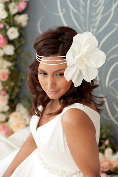 Satin headband with large flower  Style#1206