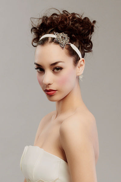 Satin and rhinestone headband -Style # 0021