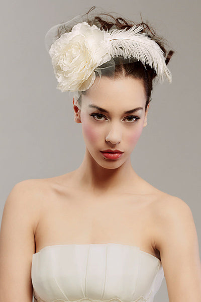 Silk rose & ostrich feather headband - Style #0019