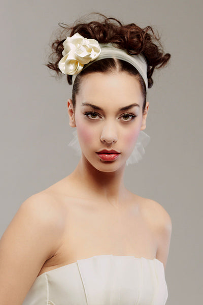 Tulle head wrap with satin roses - Style #0023
