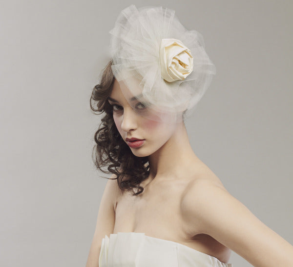 Tulle and rose fascinator - Style #0017
