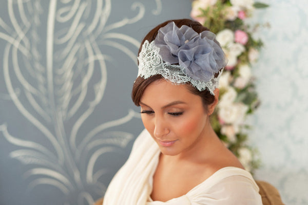 Chantilly and Flowers Headband  Style#1220
