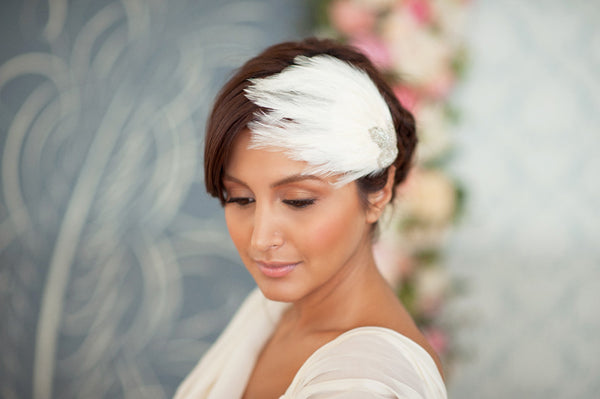 Feather and Beaded Leaf Fascinator  Style#1215