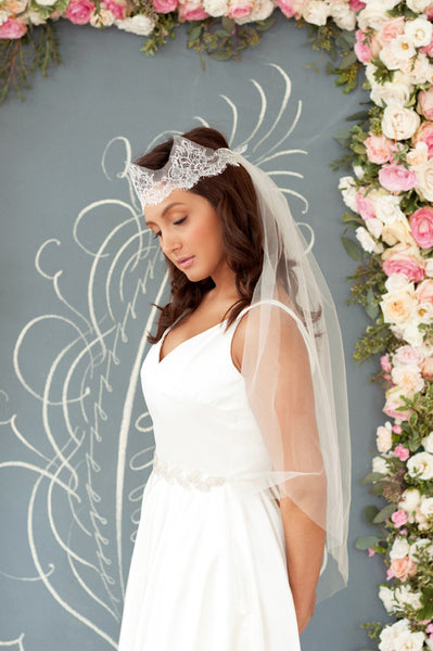 French Chantilly Lace Crown and tulle veil  Style#1204