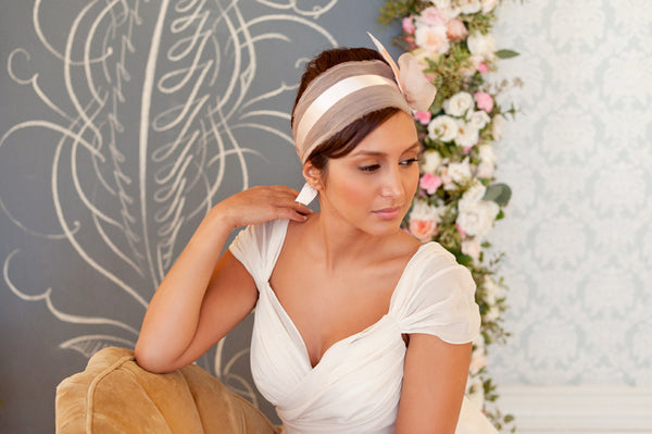 Organza and Feathers Headband  Style#1224