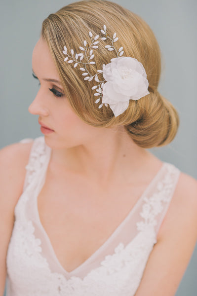 Pearls and Silk Flower Comb - Style #1412